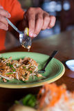 Pad thai with chicken and pork in dish Stock Photography