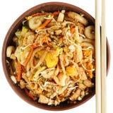 Pad thai with chopsticks Royalty Free Stock Image