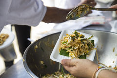 Pad thai on a foam tray Royalty Free Stock Image