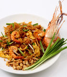 Pad Thai & Fresh Shrimp Stock Photography