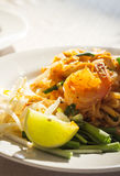 Pad Thai, fried noodle with egg and shrimp. Royalty Free Stock Photos