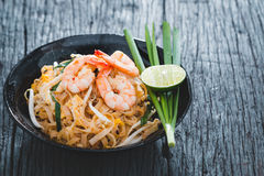 Pad Thai. Thai Fried Noodles Pad Thai with shrimp and vegetables Royalty Free Stock Photography