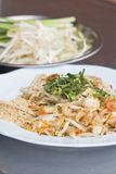 Pad Thai Goong Sod (Fried Rice Sticks with Shrimp) thai food Royalty Free Stock Photography