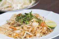 Pad Thai Goong Sod (Fried Rice Sticks with Shrimp) thai food Royalty Free Stock Photo