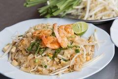 Pad Thai Goong Sod (Fried Rice Sticks with Shrimp) thai food Stock Photography