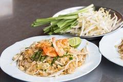 Pad Thai Goong Sod (Fried Rice Sticks with Shrimp) thai food Stock Image