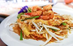Pad Thai Kung Sod, Thai fried noodles with shrimp Stock Photo