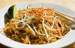 Pad Thai Lime and Chopsticks Stock Photos