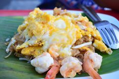 Pad Thai at street Food Hawkers in Province songkhla at hatyai , Thailand royalty free stock photography