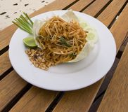 Pad Thai noodles with shrimp Royalty Free Stock Image