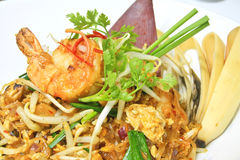 Pad Thai is noodles stir-fried with shrimp Stock Image