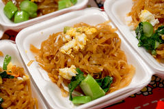 Pad Thai noodles, Thai food. Pad Thai noodles, Thai food served in Styrofoam of food container Royalty Free Stock Photography