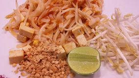 Pad Thai on Plate in Restaurant in Bangkok, Thailand. Stock Photography