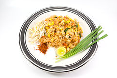 Noodles pad Thai. Isolated on white background Stock Image