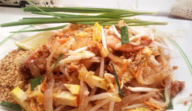 Pad thai with prawns. Asian - Thai food, Stir fried noodles with tamarind sauce, tofu and fresh shrimps & x28;prawns& x29; served with bean sprout and leaves Stock Photography
