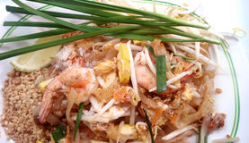 Pad thai with prawns. Asian - Thai food, Stir fried noodles with tamarind sauce, tofu and fresh shrimps & x28;prawns& x29; served with bean sprout and leaves Royalty Free Stock Photography