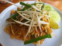 Pad Thai. Put bean sprouts. Lemon. Red pepper. stock images