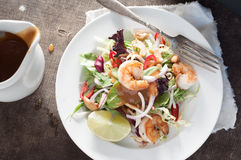 Pad Thai Salad. Top shot of pad thai salad with shrimp on a white plate Stock Photo