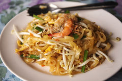 Pad Thai with shrimp Stock Photography