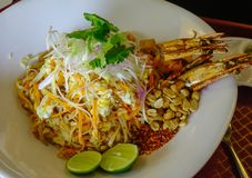 Pad Thai with shrimp at local restaurant royalty free stock photo