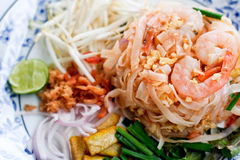 Pad Thai. With shrimp in Thai style with various vegetables Stock Image