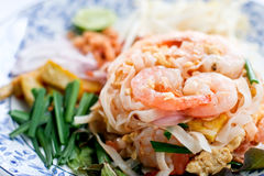 Pad Thai. With shrimp in Thai style with various vegetables Royalty Free Stock Image