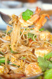 Pad Thai with shrimp, Thai street food stock photo