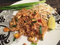 Pad thai shrimps, famous thai food stock photos