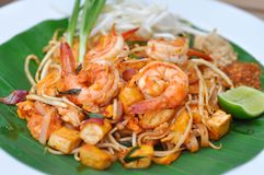 Pad thai or stir-fried noodle or pan fried noodles. With shrimp royalty free stock images