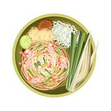Pad Thai or Stir Fried Noodles with Shrimps Stock Photo