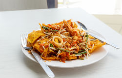 Pad thai stir fried noodles of thailand on white dish Royalty Free Stock Photos
