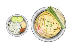 Pad Thai or Stir Fried Noodles Wrapped with Omelet Stock Photography