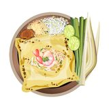 Pad Thai or Stir Fried Noodles Wrapped white Omelet Royalty Free Stock Photos