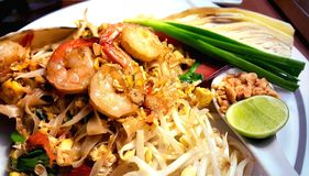 Pad Thai, stir-fried rice noodles with shrimps, Thailand's national dishes. royalty free stock photo