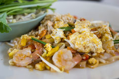 Pad Thai stir-fried rice noodles,Stir fry noodles with shrimp Royalty Free Stock Photos