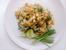 Pad Thai, stir-fried rice noodles with tofu. The one of Thailand's national main dish. Stock Images