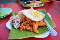 Pad Thai at street Food Hawkers in Province songkhla at hatyai , Thailand stock image