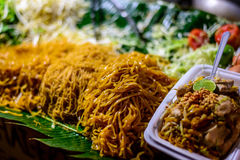 Pad Thai on street stall in Thailand. Pad Thai with chicken on Bangkok street stall Stock Image