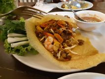 Pad thai Thai food Stir fry noodles stock photography