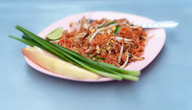 Pad thai Thai fried noodle with vegetables Stock Images