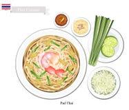 Pad Thai or Thai Stir Fried Noodles with Shrimps Stock Photos