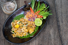 Pad Thai Thailand food. On wood table Stock Photography