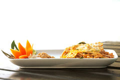 Pad Thai (Thailand's national dishes, stir-fried rice noodles) Stock Photos