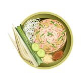 Pad Thai or Traditional Stir Fried Noodles with Shrimps Royalty Free Stock Images