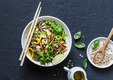 Pad Thai vegetables soba noodles on dark background, top view. Healthy vegetarian food. In asian style royalty free stock images