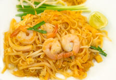 Pad Thai on White Dish Stock Image