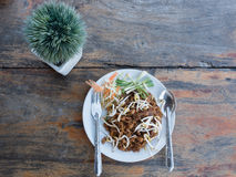 Pad thai on wooden table. Top view of pad thai on wooden table Stock Photography