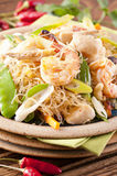Pad woon noodles. Pad Woon Sen with shrimps and fish Stock Photos