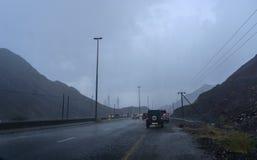 Padać w Sharjah, Kalba autostradzie - Zdjęcie Stock