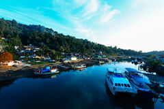 Padang city indonesia. Ship & boat cargo harbour at padang city indonesia Stock Photos